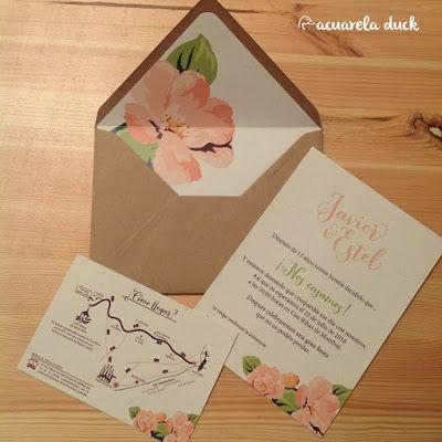 Invitaciones de Boda. Invitación kraft sobre forrado. Invitación rayas y flores. Invitaciones originales. Papelería para bodas.