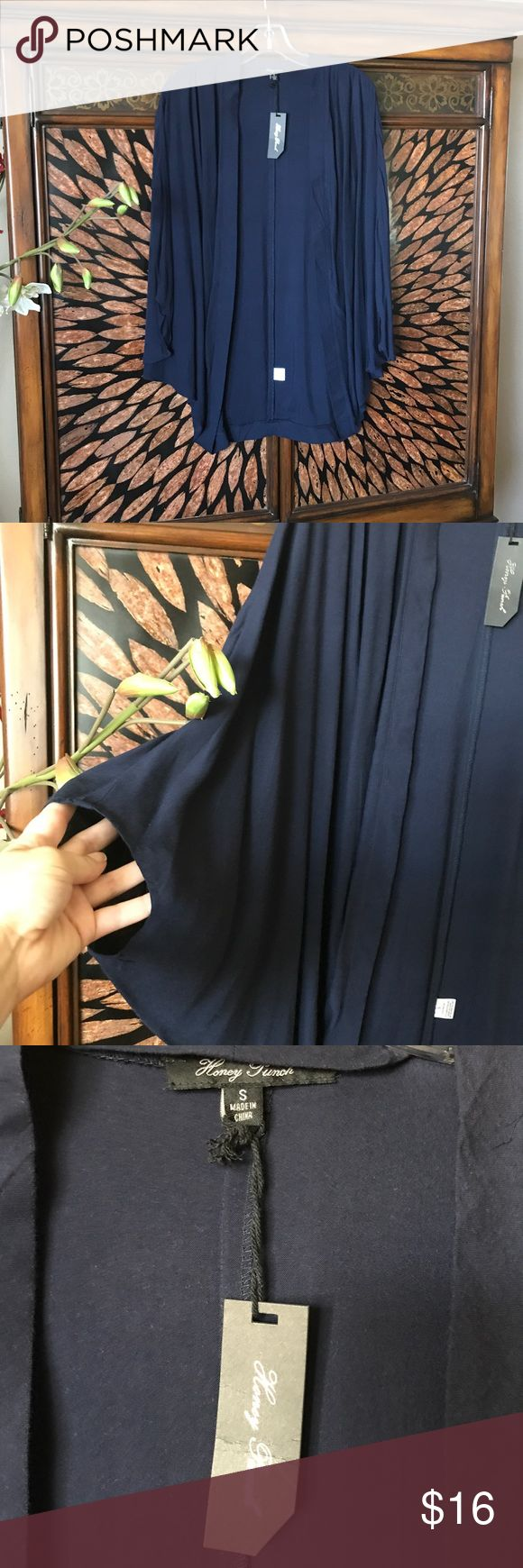 Kimono Navy Blue kimono. Great over tanks or tees for work. Flowy arms. Covers butt. Never worn. Super cute and casual. Honey Punch Sweaters