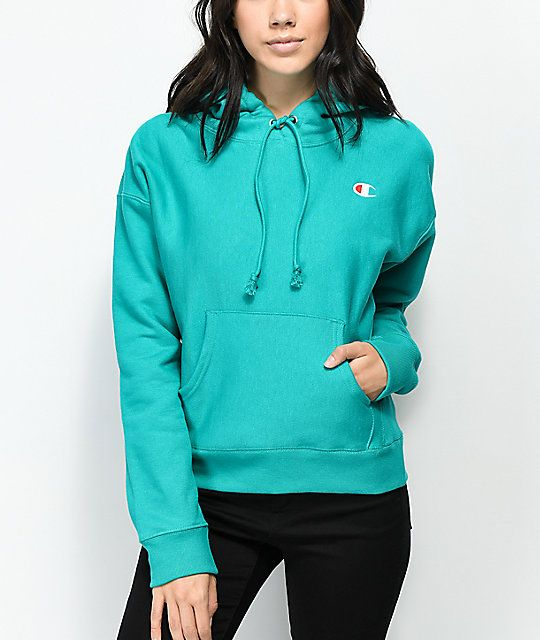 627084360115 Champion Reverse Weave Vivid Teal Hoodie in 2019