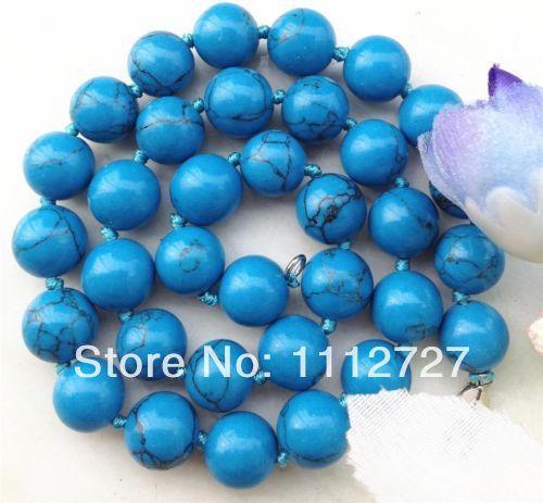 Естественная ювелирные изделия бусины камень красивая заманчиво-линия 10 мм синий турция бирюза ожерелье 18 '' Wolesale
