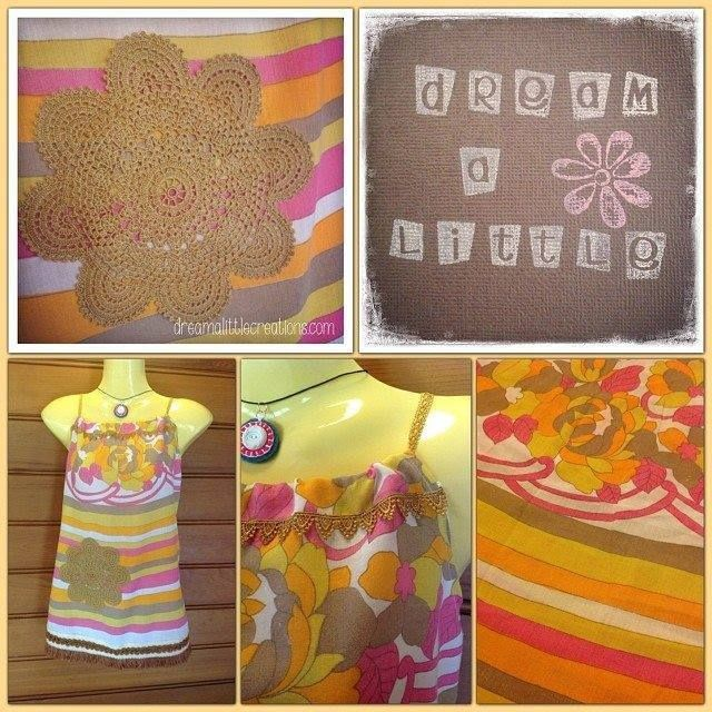 Handmade by dream a little. Upcycled tablecloth ladies summer top,