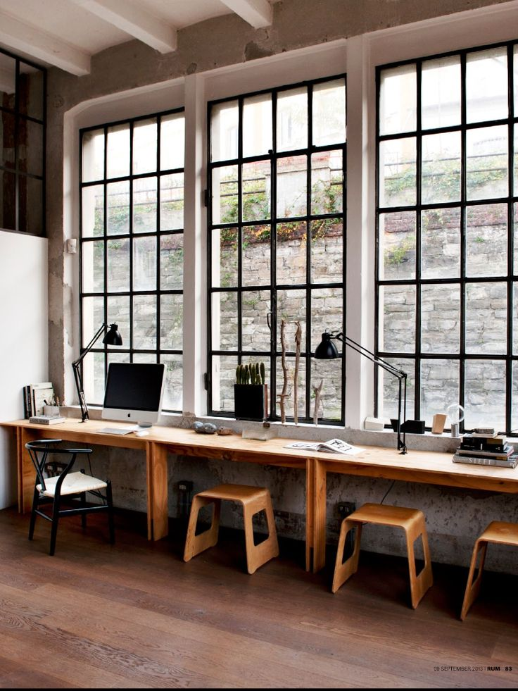 Desk space under large scale  windows... Love these stools too. #interiors