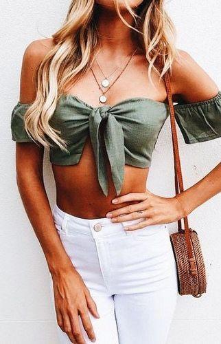 Blusa com amarração na frente (Tie cropped): Moda verão ...