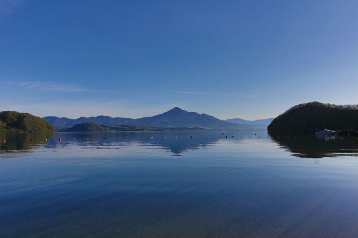 中田浜 (Mt. Bandai and Lake Inawashiro, Nakadahama, Aizu-Wakamatsu, Fukushima, JAPAN)