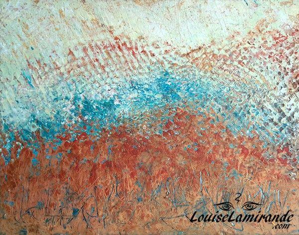"""""""Invocation"""" Cire froide, huile, acrylique, papier crépon, textile sur Masonite 14x11po (35,56 x 27,94 cm). Avril 2016. © 2016, Louise Lamirande."""