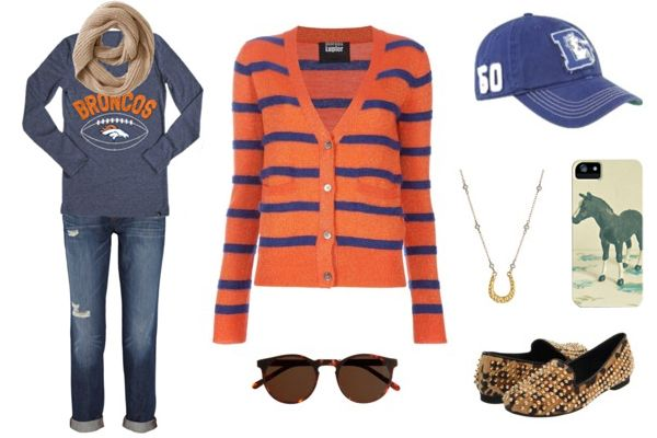 never really thought about game day clothes this much LOL. But cute outfit. Denver Broncos: Game Day Fashion - Girls Love the Game