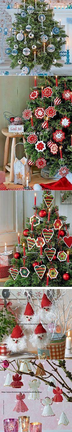 Вязание крючком - рождественские ёлочные украшения