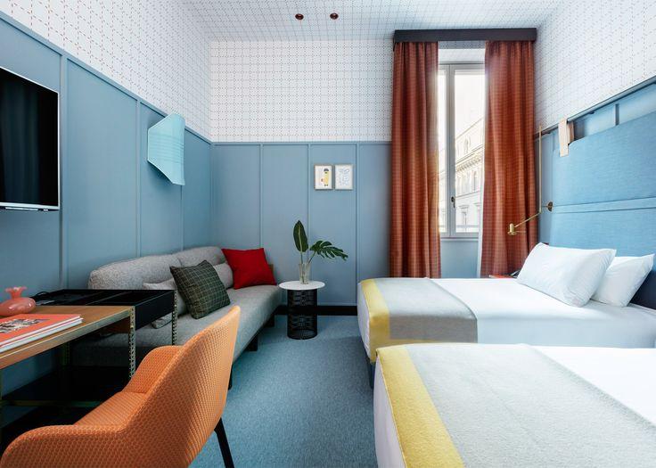 room interior design application. patricia urquiola designs colourful milan outpost for room mate hotels chain interior design application