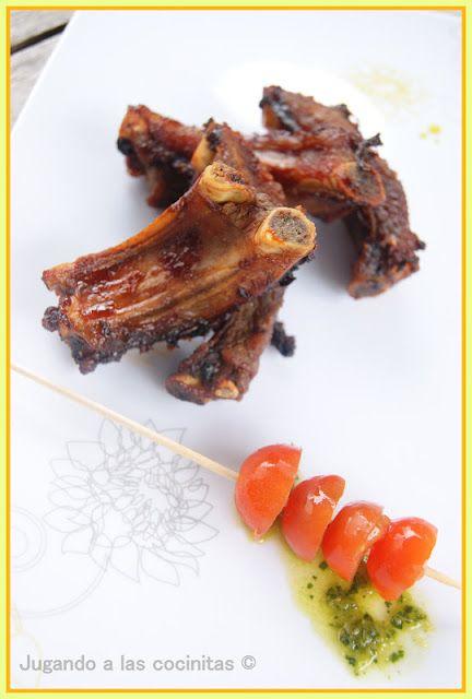 Costilla asada en salsa barbacoa (estuche vapor Lékue)