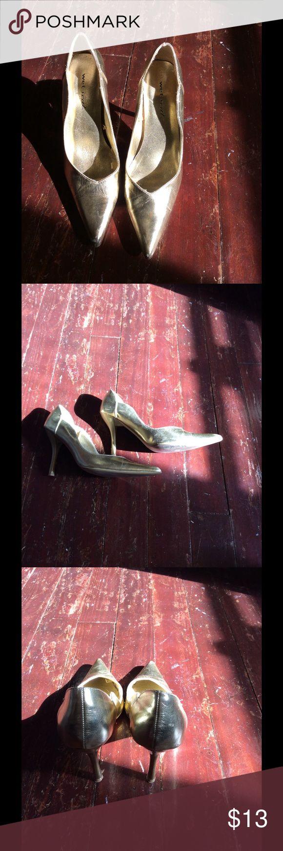 Wet seal gold stilettos. Size 7.5 Wet seal gold stilettos. Size 7.5 Wet Seal Shoes