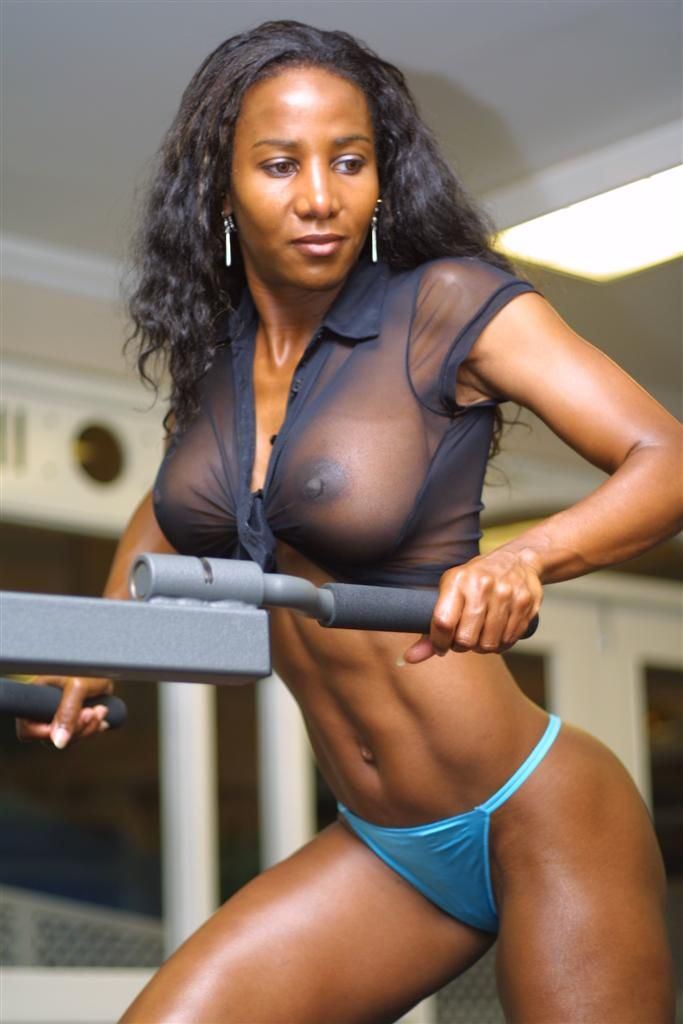 Naked black girl working out