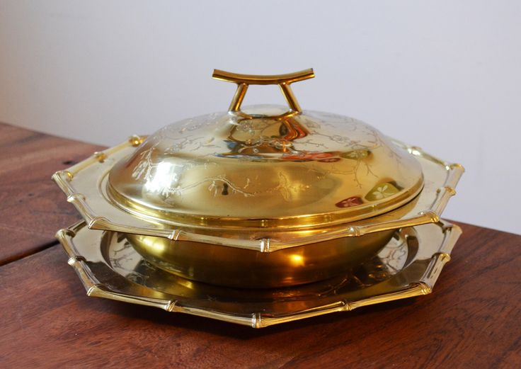 Vintage Brass Chafing Dish, or Serving Bowl with etched floral lid and Asian details, Made in Canada 2758 by Trashtiques on Etsy https://www.etsy.com/ca/listing/508864691/vintage-brass-chafing-dish-or-serving