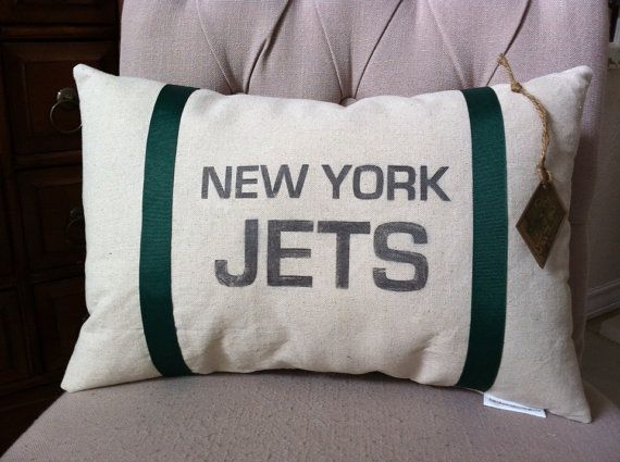 New York Jets Football Pillow 12 X 18 by twotexascowgirls on Etsy, $19.50
