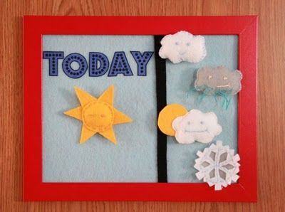 Felt weather board- Such a cute idea. Noah is starting to get interested in weather and his newest word is cloud so this would be perfect!