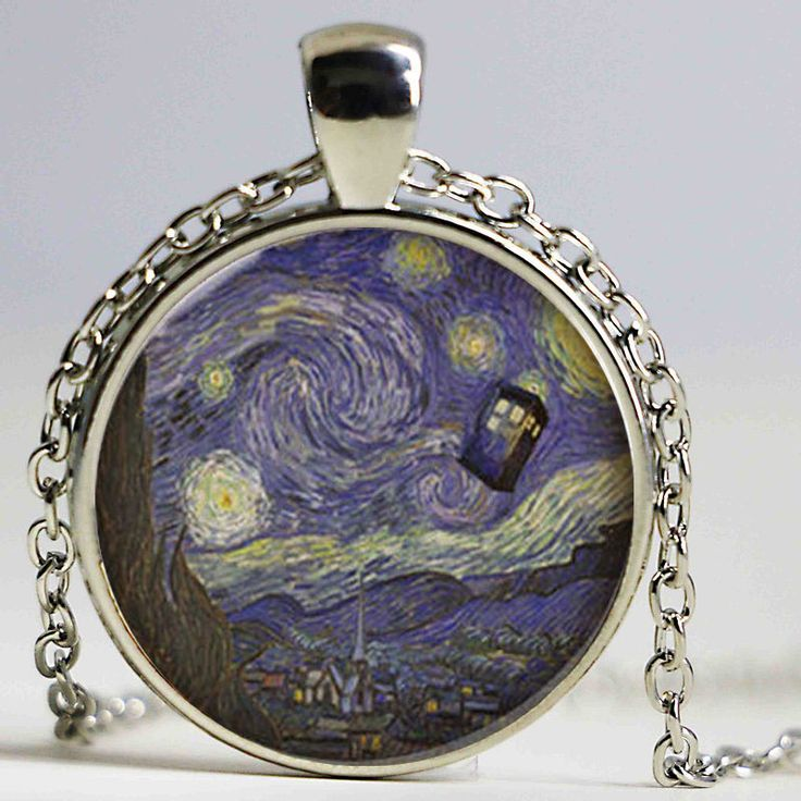 Wholesale Glass Dome Doctor Who Necklace. Tardis Van Gogh Dr who art pendant jewelry