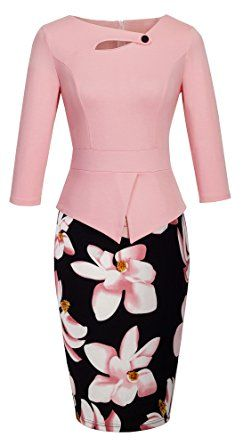 HOMEYEE Women's Elegant Chic Bodycon Formal Dress B288 (XL, A-Light Pink)