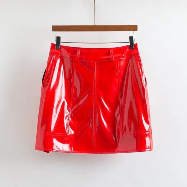 You look so hot in this Red Patent Leather Side Split Mini Skirt! Patent PU LeatherMaterial Approx Length 40cm Red Color Package Hip High Waist Side Split Str