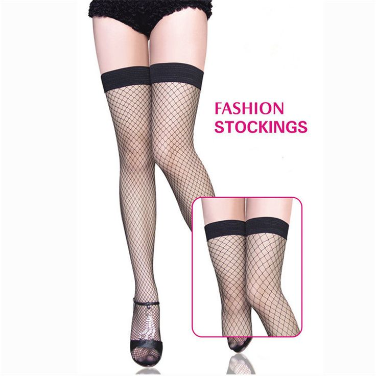 Women Fashion Black/Red Mesh Fishnet Stockings Hot Sexy Breathable Knee High Long Nylon Stocking Pantyhose Hosiery