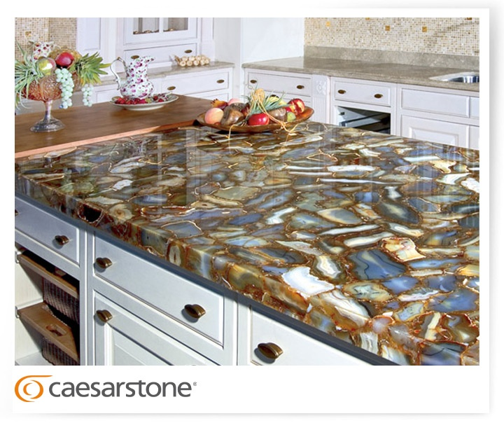 Blue Quartz Kitchen Countertops: 8310 Brown Agate; Kitchen, Countertop, Table, Quartz