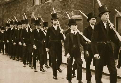 Officers in training: pupils at Eton College on parade as they prepare for military service in WW1. Photo: Stapleton Collection/Bridgeman Art Library.