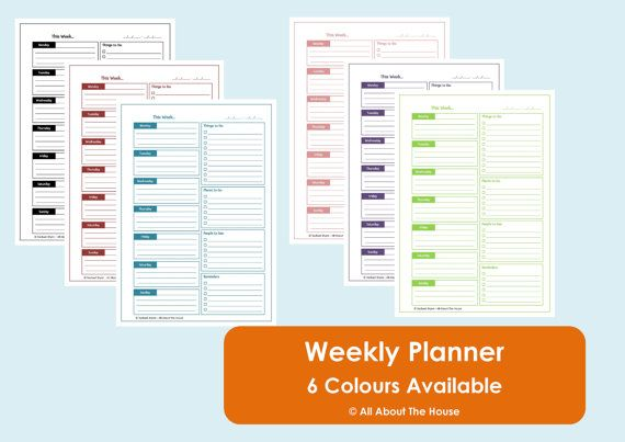 Printable Weekly Planner - Time Management - Product Number 291. $3.00, via Etsy.
