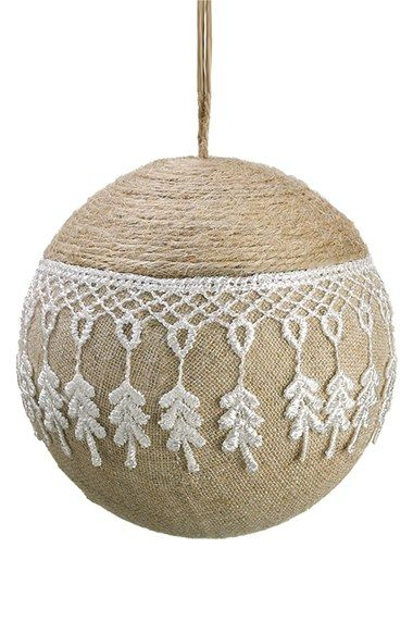 Free shipping and returns on ALLSTATE Burlap & Lace Ball Ornament at Nordstrom.com. Earthy burlap and delicate lace lend shabby-chic charm to a folksy ball ornament.