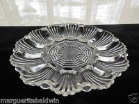 """Anchor Hocking Glass Clear #896 Fan Wave 10"""" Egg Relish Tray Platter"""