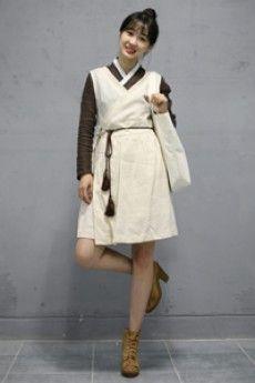 린넨 민소매 철릭 원피스 [베이지] / DRESS leesle korean tradition costume