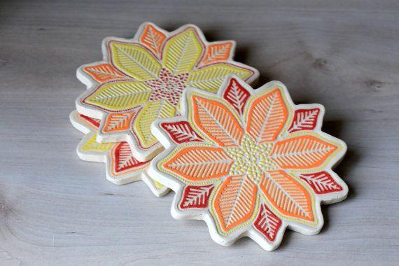 Handmade Ceramic Hot Plate Holders w/ Red Orange Yellow Flower Design w/ Cork Backing - House Warming Gift - Wedding Gift