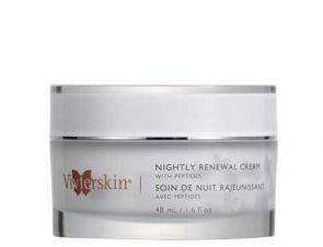 Nightly Renewal Cream is a luxurious medical grade cream that is loaded with powerful ingredients that offer anti-aging and skin nourishing properties.  Together, these ingredients make this a powerful skin renewal treatment that effectively helps rebuild, moisturize and revitalize tired and damaged skin. Ideal for normal to dry, dehydrated skin.