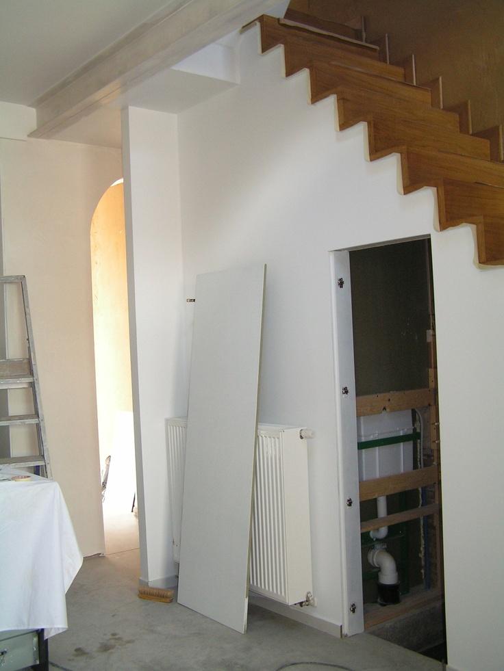 trap visueel over wandje naar kelder - architect a.wildro