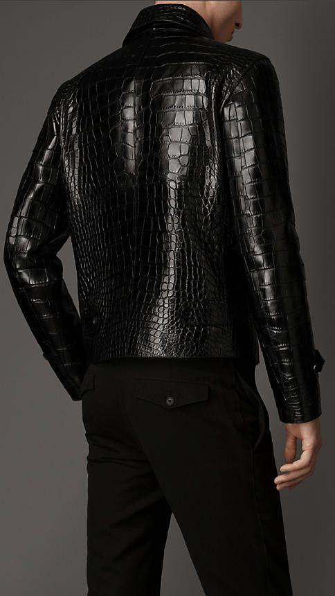 Black Alligator Leather Jacket - Image 2
