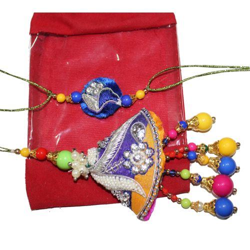 Elegant Colorful moti Designed Bhaiya Bhabhi Rakhi Pair