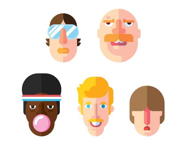 Faces #flat #illustration
