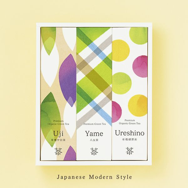 "Premium organic tea ""Color and Shade"" Uji Houjicha (30g) Yame Sencha (50g) Ureshino Black Tea (50g) SAUDADE TEA"