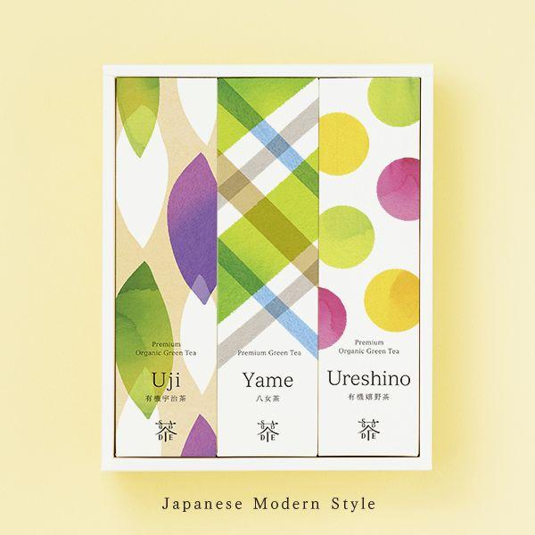 "Premium organic tea ""Color and Shade"" Uji Houjicha (30g) Yame Sencha (50g) Ureshino Black Tea (50g) SAUDADE TEA"