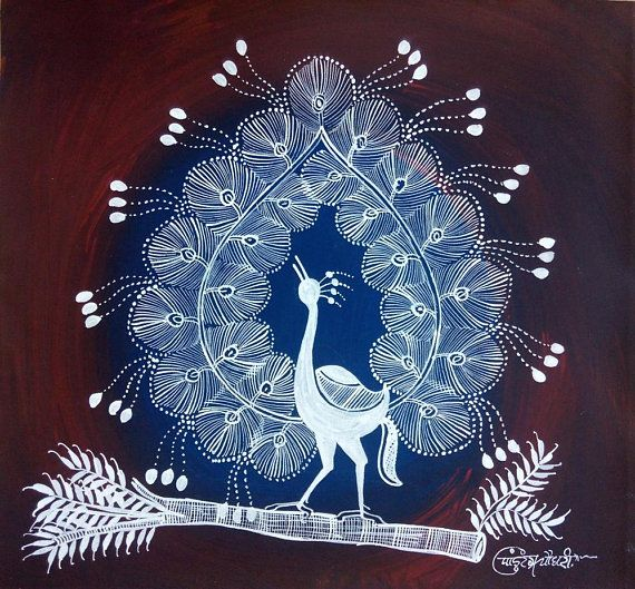 Warli Painting Warli Art Peacock Indian Tribal Art Gift Tribal