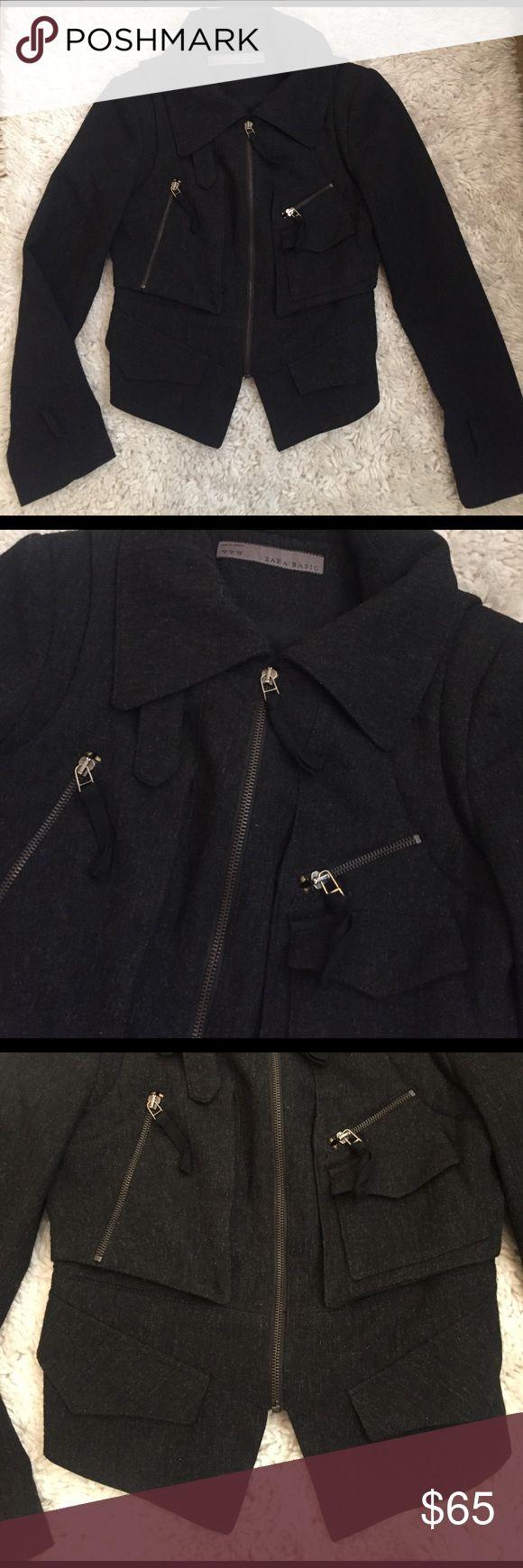 Zara winter coat, size M Charcoal black. Size M. Zara winter coat. Sliming fit, front zipper. Very good condition, worn 3 or 4 times. Zara Jackets & Coats