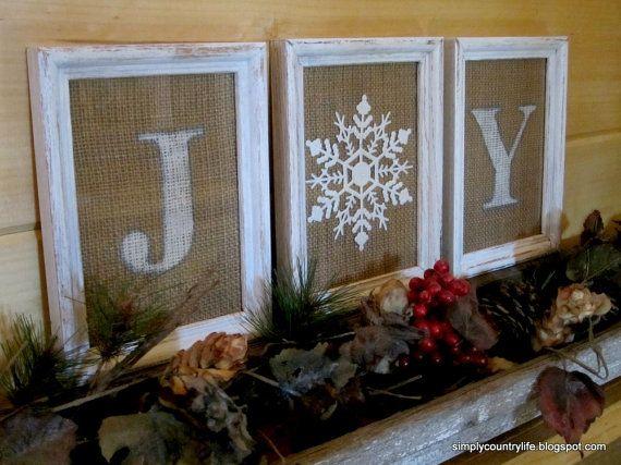 White Wood Framed Burlap JOY Christmas Sign by simplelifevintage, $24.00