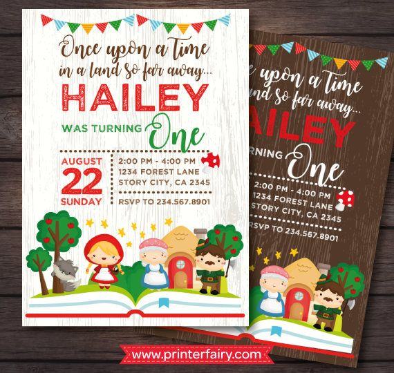 Little red riding hood party Storybook Invitation Red Riding
