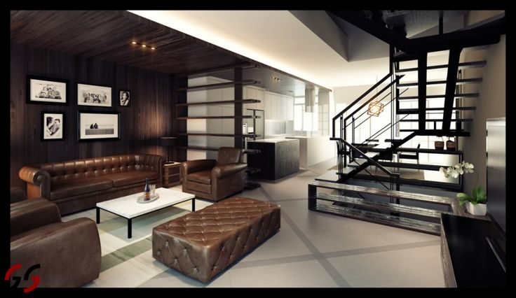 Modern Elegance with Chocolate Leather Couches and Dark Brown Walls   Man Cave/Movie Theater