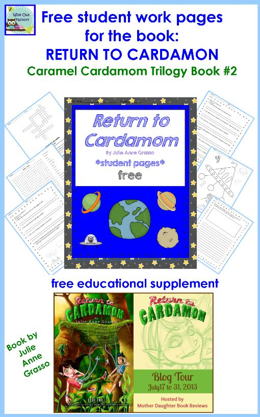 free student work pages for RETURN TO CARDAMOM by Julie Grasso