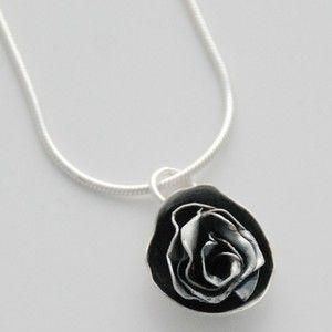 Oxidized silver rose necklace by Rikke Kjelgaard