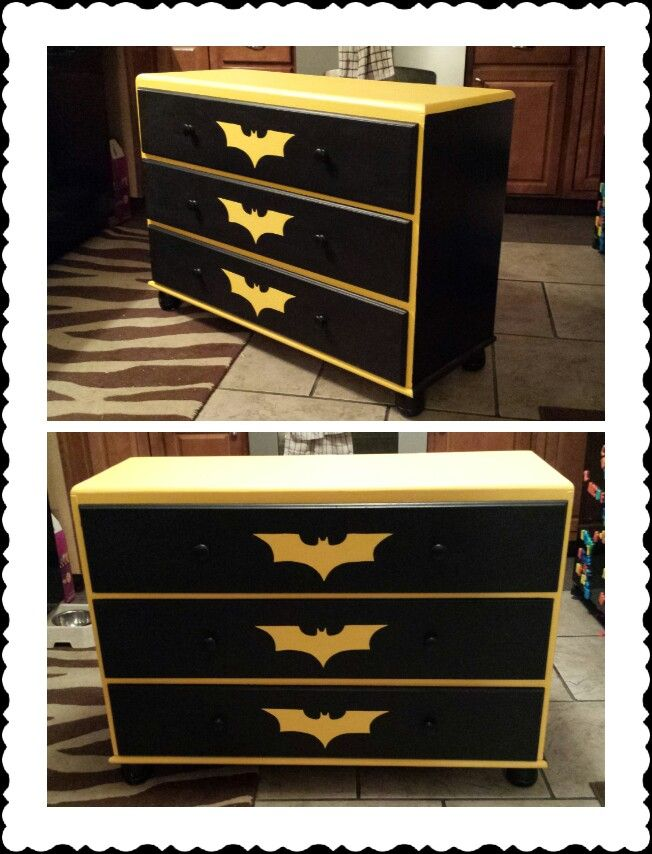 DIY chalk paint batman begins dresser.