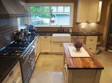 Kitchen Island With Butcher Block And Granite : Granite with butcher block island top Kitchen update Pinterest
