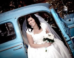 Bride in Blue Truck