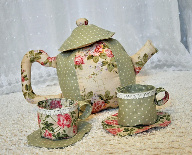 "fabric ""tea set"" tutorial: Tea Party, Tea Sets, Party'S, Teas, Tea Parties, Fabrics, Craft Ideas"