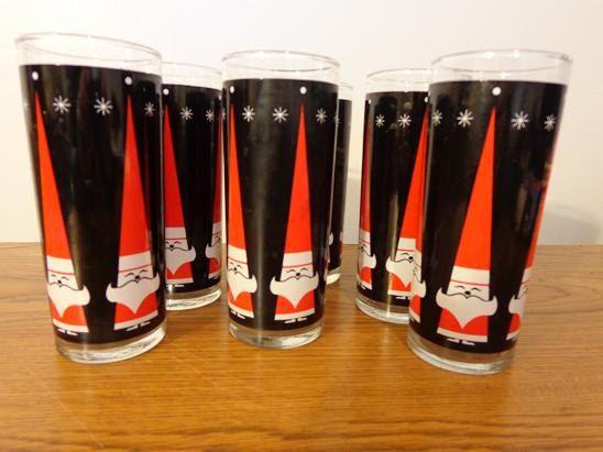 Vintage Mid Century Howard Holt Christmas Glasses.