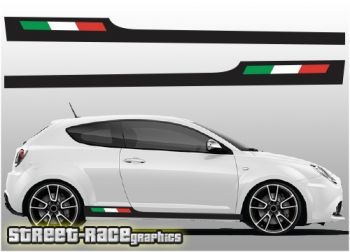 Alfa Romeo MiTo lower side racing stripes with Italian flag