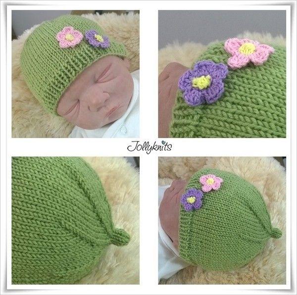 gratis Babymütze stricken–mit Blumen drauf